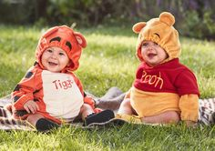 The Disney Baby Winnie the Pooh & Tigger Costumes make the most adorable pair in the Hundred Acre Wood! The Babies'R'Us exclusives are easy-on soft plush bodysuits with an elastic hem hood for cute and comfy costumes for baby. The Winnie the Pooh costume features Pooh's ears on the hood, and his signature red shirt with his name on it. The Tigger costume features Tigger's ears on the hood, his name on the belly and his signature bouncy tail. Happy Halloween! #DisneyHalloween