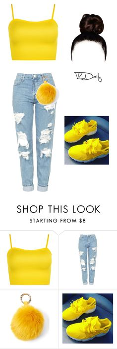 """""""yellow"""" by thegirldaeja ❤ liked on Polyvore featuring WearAll, Topshop and Raj Imports"""