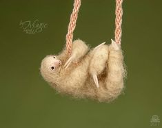 Sloth necklace needle felted sloth toy two toed sloth party