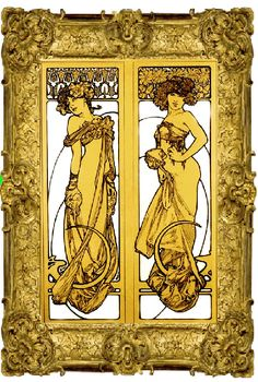 Art Nouveau Alphonse Mucha Gold Ladies Digital #Art #Print $18.00