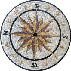 Medallion Stone Mosaic Compass Design by Mozaico on Etsy