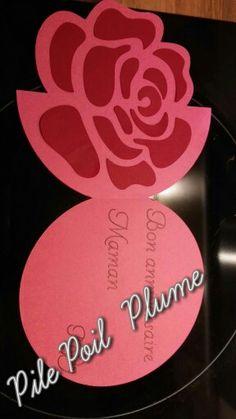Carte  rose  silhouette
