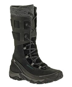 Those are some seriously sexy boots!!!!  Yes, please!  -  Black Polarand Rove Peak Leather Boot by Merrell #zulily #zulilyfinds