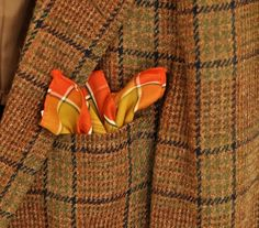 Men's #PocketSquare Plaid #Handkerchief Large #VintageHanky Mens Fashion Father's Day Gentleman's Gift Orange Gold Forest Green Cotton Blend by #ArmorOfModernMen.Etsy.com #FathersDayGift #Dapperman #menssuitaccessory