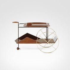 JZ Bar Cart by Jorge Zalszupin - modern - bar carts - other metro - Espasso Tea Trolley, Tea Cart, Drinks Trolley, Vintage Furniture, Modern Furniture, Furniture Design, Iron Furniture, Bauhaus, Bandeja Bar