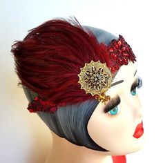 1920s Inspired Headpiece in Gryffindor House Colors