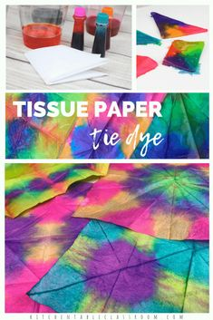 Try this super easy tie dye process perfect for kids. Create amazing tie dye designs using food coloring and tissue paper! All of the fun without the mess! Informations About Tie Dye with Tissue Paper Tissue Paper Crafts, Paper Crafts For Kids, Art Crafts, Preschool Crafts, Kids Tie Dye, How To Tie Dye, Food Coloring Tie Dye, Painting For Kids, Art For Kids