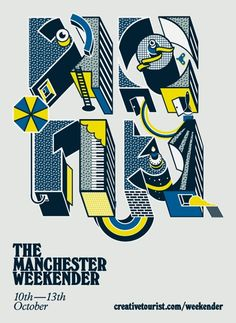 Illustrator Emily Forgot has created the identity for art and culture festival Manchester Weekender. Typography Love, Typography Letters, Manchester, E Design, Logo Design, Creative Review, Cool Posters, Design Posters, Graphic Design Illustration