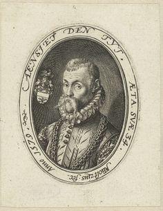 Hendrick Goltzius | Portret van een man op 34-jarige leeftijd, Hendrick Goltzius, 1579 | Portret van een 34-jarige man, ten halven lijve. Aan zijn rechterzijde een wapenschild. Portret in een ovaal met randinscriptie in Latijn en Nederlands. Het zou kunnen gaan om Gerrit van Poelgeest of om Claes Lubbertsz. van der Weyde, burgemeester van Haarlem.