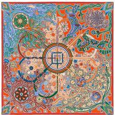 L'Arbre du Vent  Hermes cashmere and silk shawl, 55