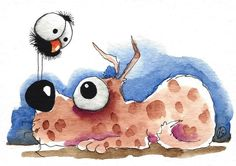 ACEO Original watercolor art painting whimsy brown dog big eyed bird crow nose #IllustrationArt