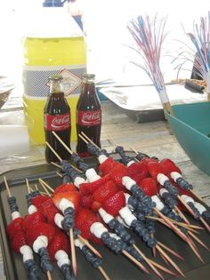 4th of July picnic food- blueberry, marshmallow, strawberry on a skewer