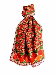 Phulkari/Bagh Stole with Lace Border-Multicolor: Buy phulkari dupatta, bagh stoles, silk stoles, kantha stoles, hand block print dupattas and more