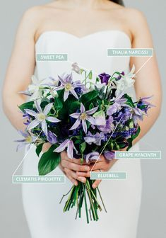Spring Wedding Bouquet With Clematis, Bluebells, Sweet Peas & Hyacinth