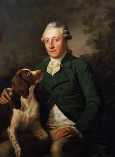 Count Anton Lamberg-Sprinzenstein and his hunting hound, in Naples, 1784, by Martin Quadal
