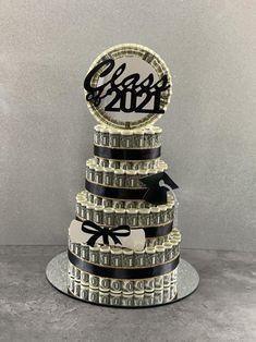 Money Cake, Money Lei, Money Creation, Dollar Money, Glitter Ribbon, Quick Money, Cake Servings, Ribbon Colors