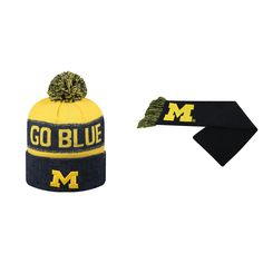 NCAA Michigan Wolverines Team Logo Scarf And Belowzero Beanie Hat 2 Pack 65662