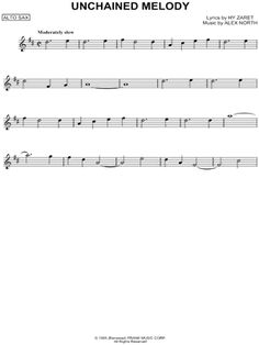 "The Righteous Brothers ""Unchained Melody"" Sheet Music (Alto Saxophone Solo) - Download & Print"
