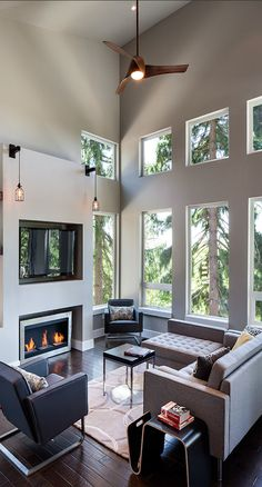 dream house - Industrial modern rustic - living room - Jordan Iverson Signature Homes Living Room With Fireplace, Home Living Room, Living Room Designs, Living Spaces, Fireplace Wall, Modern Fireplace, Fireplace Design, Living Room Hardwood Floors, Contemporary Family Rooms