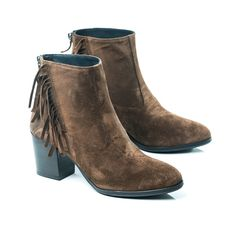 Fringe ankle mid-heel boots in extended women's size 9,10,11,12,13,14. European high quality comfort in your size