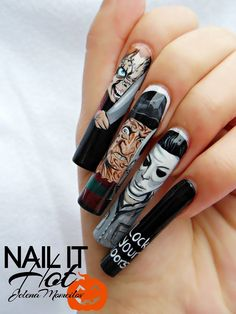 Chucky, Freddy Krueger i Michael Myers (hand paint Holloween Nails, Cute Halloween Nails, Halloween Acrylic Nails, Halloween Nail Designs, Cute Acrylic Nails, Fall Nail Art Designs, Creative Nail Designs, Creative Nails, Fabulous Nails