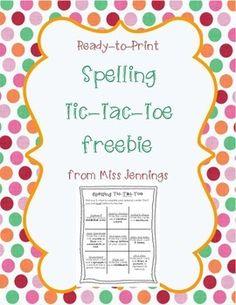 Monthly Spelling TicTacToe  SpellerS Choice Homework Menu