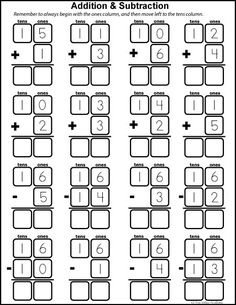 Free math printables for Kindergarten and Grade 1. Number study of 16. Learning number bonds, column addition and subtraction.