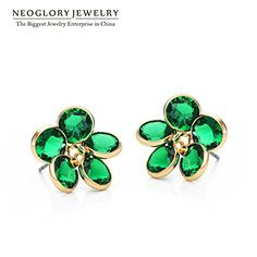 Chokushop Neoglory Green Cubic Zircon 14K Gold Plated Brand Jewelry Fashion Flower Stud Earring for Women New Bijoux JS3 Flo-r >>> You can get additional details at the image link.