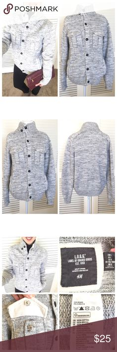 "Heather Gray Button Up Sweater Jacket Heather Gray Button Up Sweater Jacket By H&M. Size Large. Two upper and lower front functional pockets. Thick knit. 100% cotton. Measurements are; length 24"", armpit to armpit 21"" and sleeve measured from back mid seam of neck is 32"". No rips, no stains & no odors. All my items are from a smoke free environment. H&M Sweaters"