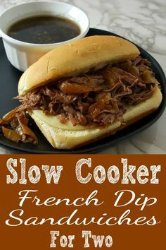 Crockpot French Dip Sandwiches have tender and juicy beef roast and onions cooke. - Crockpot French Dip Sandwiches have tender and juicy beef roast and onions cooked long and slow and - Crockpot Recipes For Two, Beef Brisket Recipes, Pork Recipes, Slow Cooker Recipes, Cooking Recipes, Crockpot Meals, Small Meals, Meals For Two, Slow Cooker