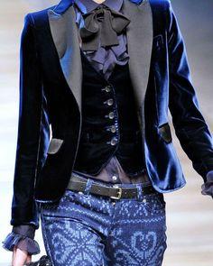 "597 Likes, 20 Comments - Carole Tanenbaum (@caroletanenbaum) on Instagram: ""Roberto Cavalli's chic mix.  #fashion #style #relaxed #blues #velvet #jacket #vest #ruffledtop…"""