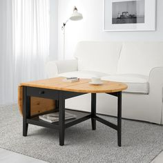 IKEA - ARKELSTORP, Coffee table, -, , Solid wood is a durable natural material.A coffee table with drop leaves is easy to make larger or smaller according to your Folding Coffee Table, Ikea Coffee Table, Extendable Coffee Table, Low Coffee Table, Modern Coffee Tables, Ikea Table, Coffee Table For Small Living Room, Ikea Furniture, Living Room Furniture