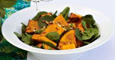 Roast pumpkin & spinach salad with honey balsamic dressing. This simple salad with sweet and tasty dressing will have your guests coming back for seconds. Pumpkin And Feta Salad, Roast Pumpkin Salad, Gourmet Recipes, Cooking Recipes, Healthy Recipes, Savoury Recipes, Salad Recipes, Vegetarian Recipes, Party Recipes