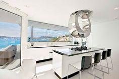 Mallorca Resort Style Villa is a Seafront Paradise Villa Design, House Design, Kitchen Hood Design, Modern Kitchen Design, Modern Kitchens, Conception Villa, Stylish Chairs, White Interior Design, Waterfront Homes