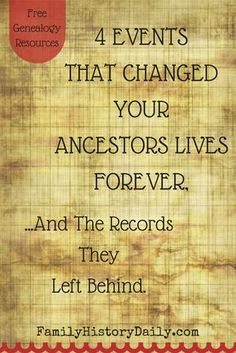 These events changed your ancestors' lives forever, discover the records they left behind. Use these little-known genealogy records to learn new things about your family tree. Free Genealogy Sites, Genealogy Forms, Genealogy Humor, Genealogy Search, Family Genealogy, Genealogy Chart, Free Genealogy Records, Ancestry Records, Family Tree Research