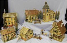 6 Building Antique Gottschalk c1908 Farm Town Village Animals Accessories | eBay