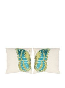 "Safavieh Set 2 Inra Blue-Wing 18"" Embroidered Pillows"