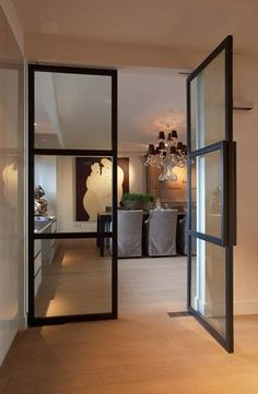 While a glass door competes tightly in a home décor realm, here's how to choose the right glass door design that'll fit your house. Interior Architecture, Interior And Exterior, Interior Design, Stylish Interior, Interior Glass Doors, Double Doors Interior, Interior Decorating, Steel Doors And Windows, Deco Design