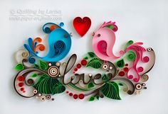 quilling, quilling art, paper, paper art, design. wall art, quilling wall art, love birds wedding, Etsy, любовь птицы квиллинг, бумага, дизайн