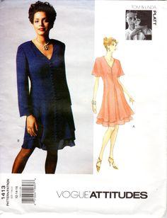 1990s Designer Dress Pattern - Vogue Attitudes 1413 - B 34 36 38 By Tom & Linda Platt UNCUT FF by ErikawithaK on Etsy