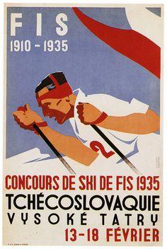 Czech Downhill Snow Ski Ad by Horak & Koutsky Fine Art Print Vintage Ski Posters, Retro Posters, Art Posters, Green Label, Retro Illustration, Snow Skiing, Art Graphique, Advertising Poster, Designer