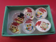 Christmas owl themed thumb tacks for your by KnittinginFrance