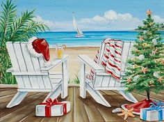 A Christmas Porch by the Sea -Watercolor Paintings by Renee MacMurray.