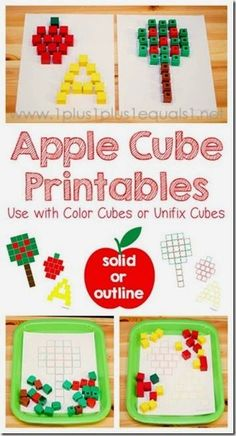Free Apple Cube Printables ~ Use with Color Cubes or Unifix Cubes - great for apple theme in Tot School, Preschool & Kindergarten Preschool Apple Theme, Fall Preschool, Preschool Apples, Toddler Preschool, Preschool Jungle, Numbers Preschool, Kindergarten Worksheets, In Kindergarten, Kindergarten Apple Theme