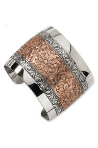 Rose-Tone and Silver-Tone Floral Cuff Bangle $36.00 http://www.celebrateyourfaith.com/Rose-45-Tone-and-Silver-45-Tone-Floral-Cuff-Bangle-P11138C82.cfm