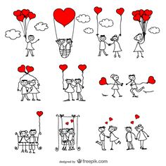 Stick Figure Lovers Cartoon Vector Illustrator Pack | 123Freevectors