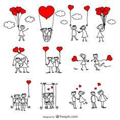 Stick Figure Lovers Cartoon Vector Illustrator Pack | 123Freevectors