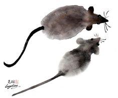 chinese art mice
