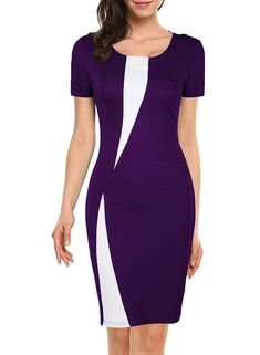 WOOSEA Women's Short Sleeve Colorblock Slim Bodycon Business Pencil Dress - I Have A Dress But I Still Do'nt Have Enough Super style pencil dress for Trendy Dresses, Elegant Dresses, Dresses For Work, Office Dresses, Dresses Dresses, Dance Dresses, African Fashion Dresses, Fashion Outfits, Elegant Fashion Wear