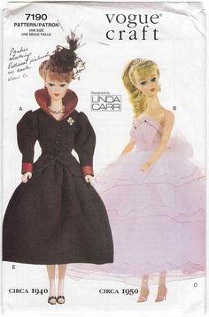 Barbie Doll Clothes Pattern Vogue Craft 7190
